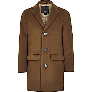Boys brown smart overcoat