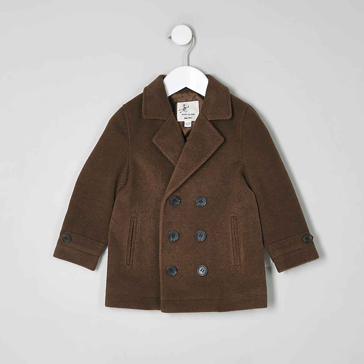 0e77bf11a Mini boys brown pea coat - Baby Boys Coats & Jackets - Mini Boys - boys