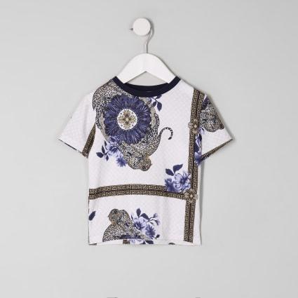 Mini boys white scarf print T-shirt
