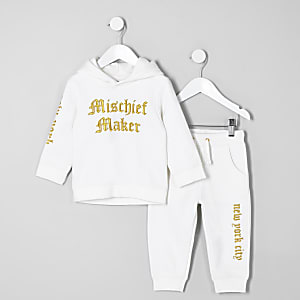 Mini boys white mischief' hoodie outfit