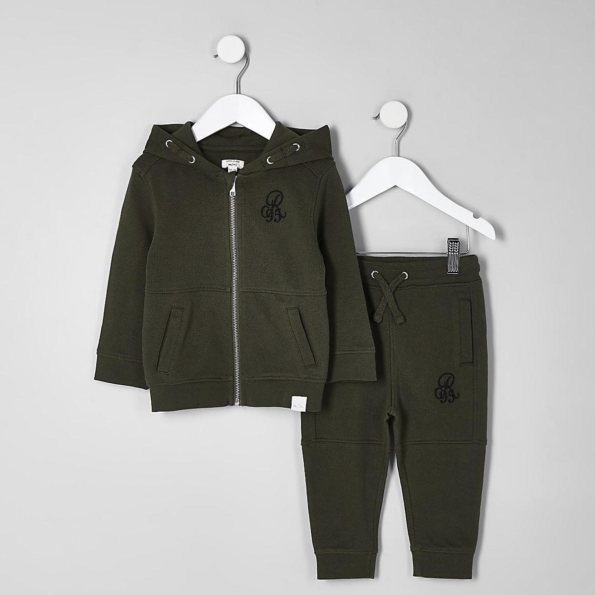 Mini boys khaki pique hoodie and jogger set