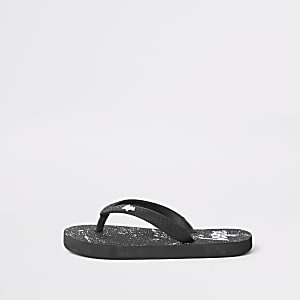 Kids Hype black paint splat flip flops