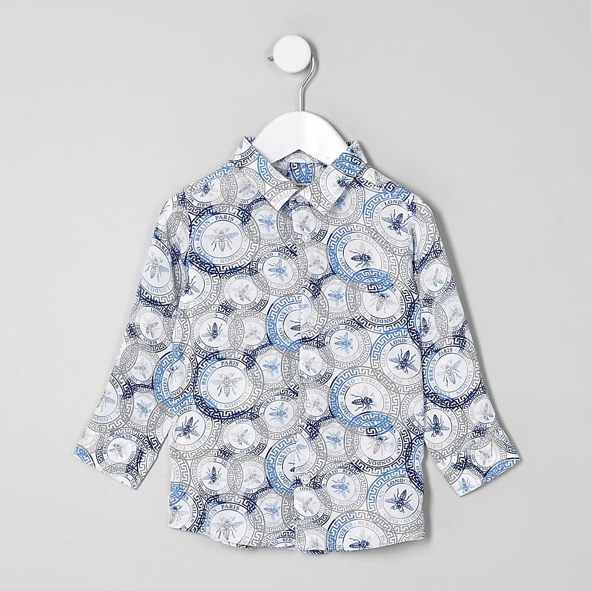Mini boys white wasp stamp shirt