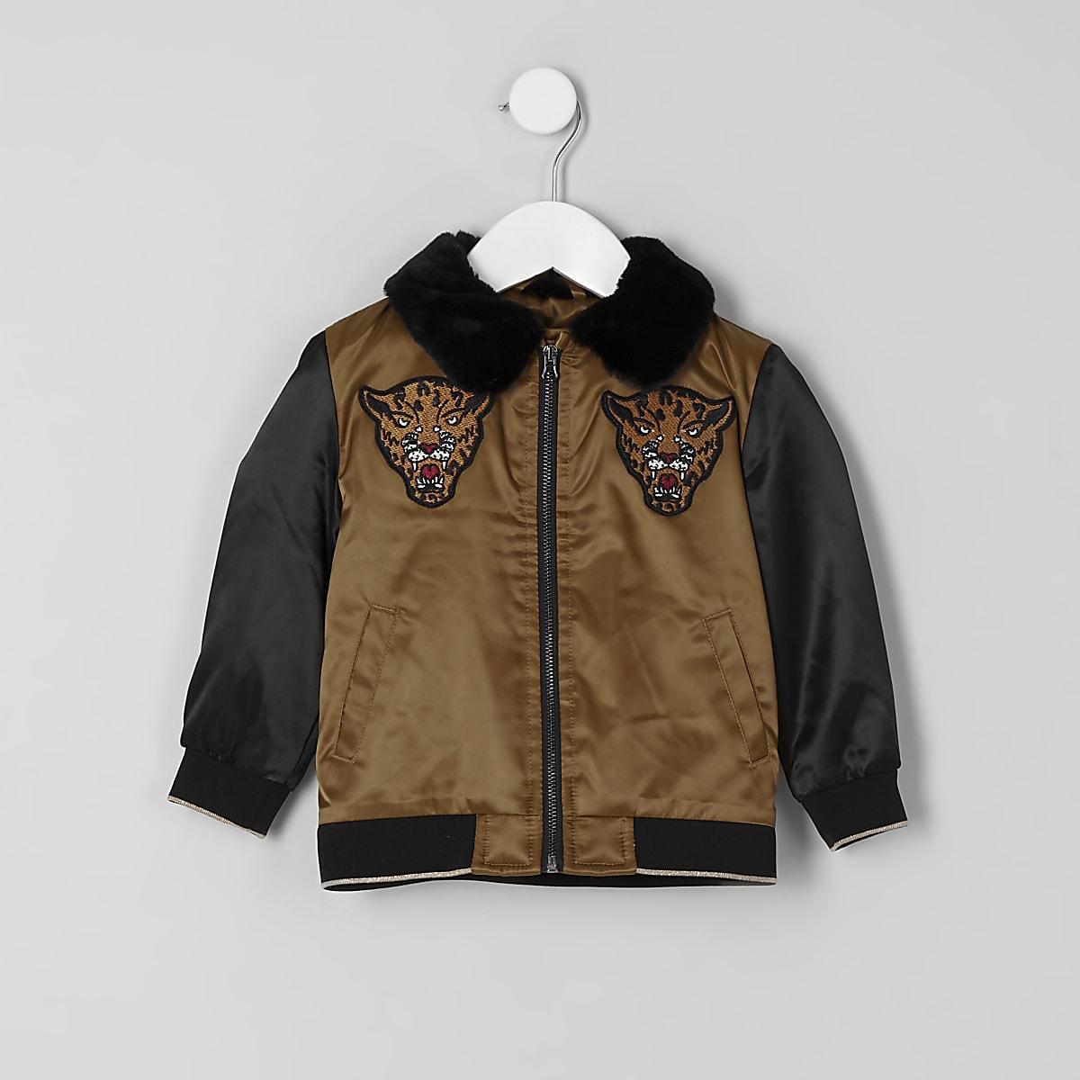 Mini boys gold faux fur collar trophy jacket