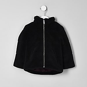 Mini boys black fleece puffer jacket