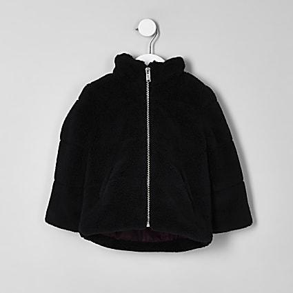 Mini boys black borg puffer jacket