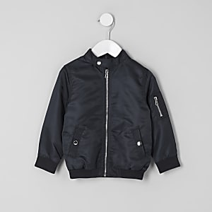 Mini boys navy racer neck bomber jacket