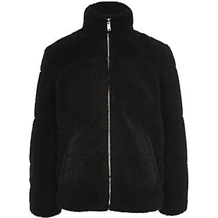 Boys black borg puffer jacket
