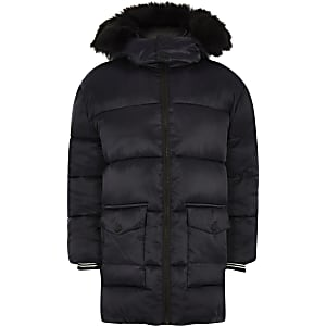 Boys navy faux fur trim puffer jacket