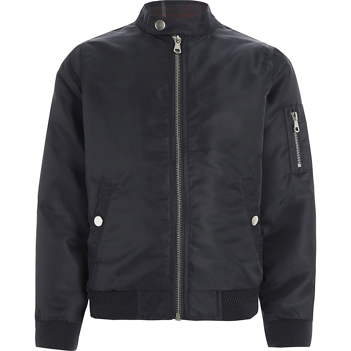 Boys navy racer neck bomber jacket