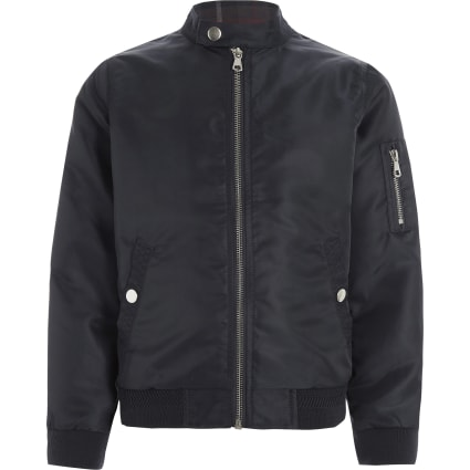Boys navy racer neck bomber jacket
