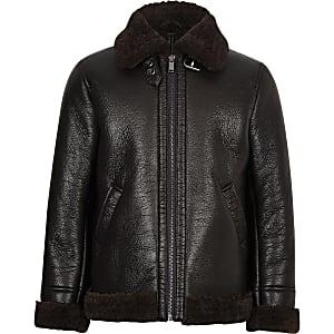 Boys dark brown faux shearling aviator jacket