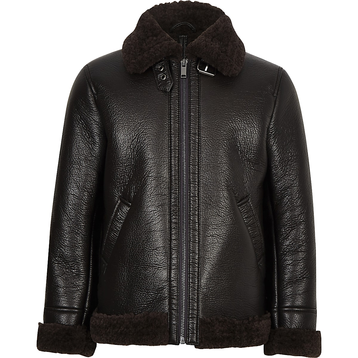Boys dark brown faux shearling aviator jacket