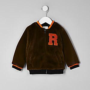 Mini boys brown faux fur tipped bomber jacket