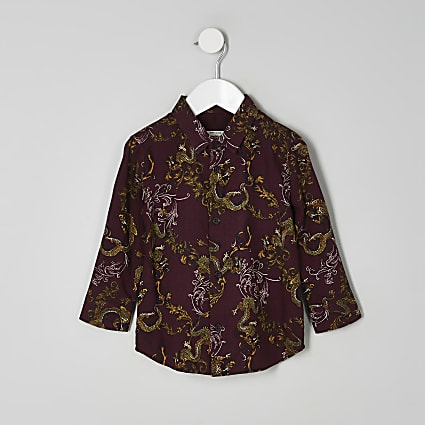 Mini boys burgundy dragon print shirt
