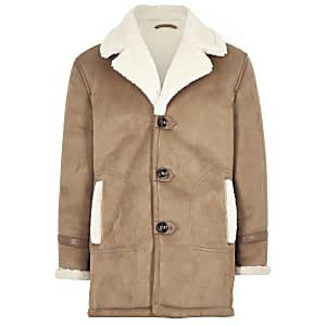 Boys light brown shearling trim jacket