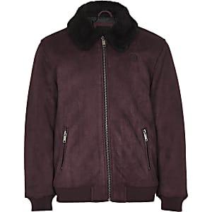 Boys burgundy fleece suede jacket