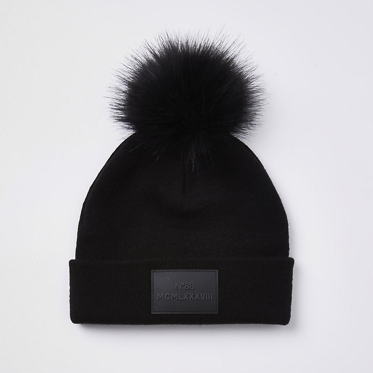 b54538fb96f Boys black faux fur pom pom beanie hat - Hats - Accessories - boys
