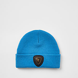 Mini boys blue badge slouch beanie hat