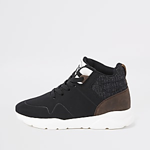 Boys black hi-top runner sneakers