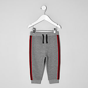 Pantalon de jogging côtelé gris à bandes mini garçon