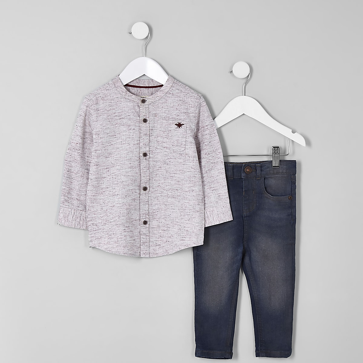 Mini boys pink herringbone shirt set