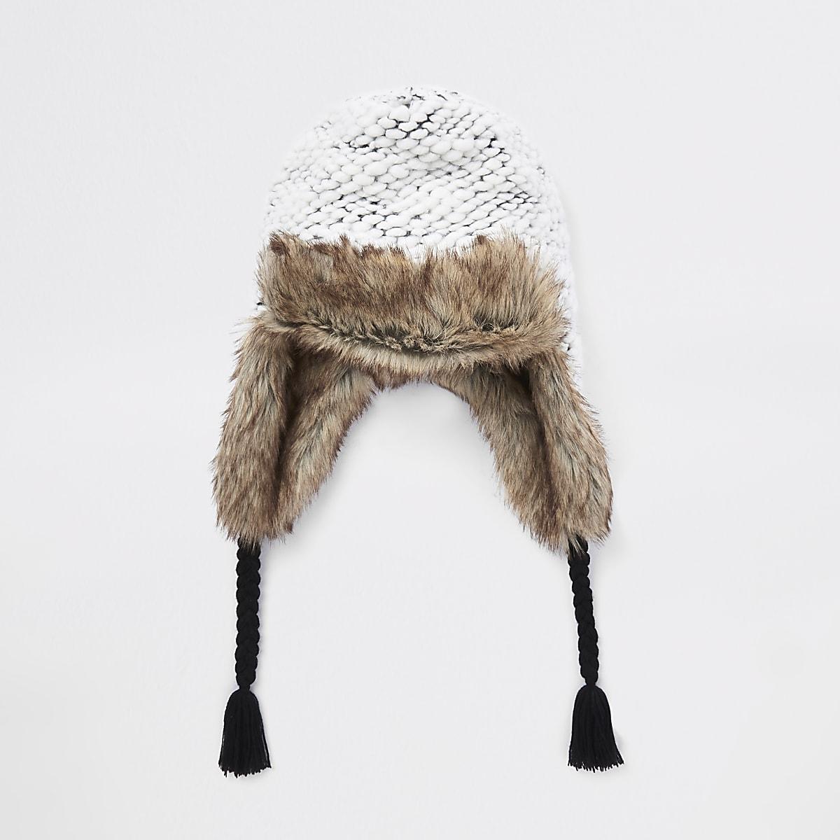 6343169f7b6e6 Boys grey knit faux fur trim trapper hat - Hats - Accessories - boys