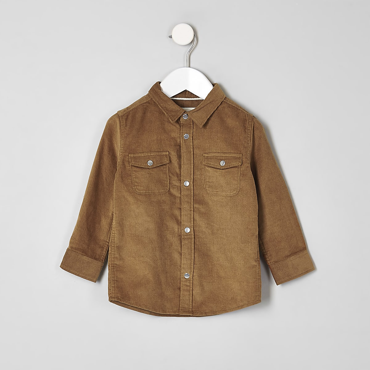 Mini boys light brown long sleeve cord shirt