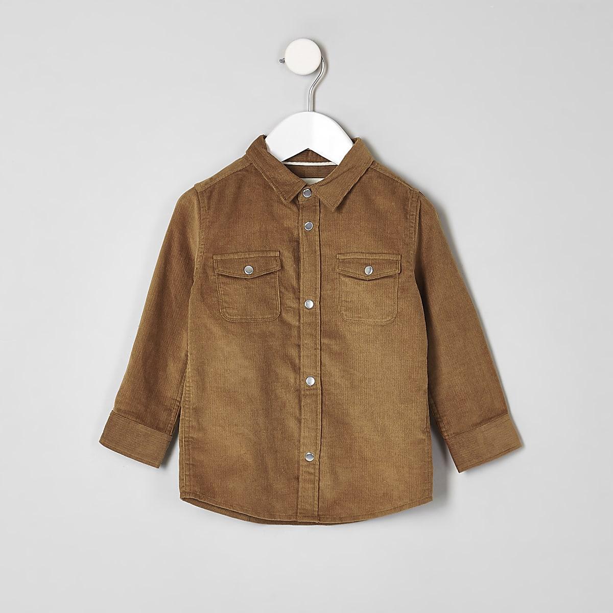 Mini - Lichtbruin corduroy overhemd met lange mouwen voor jongens