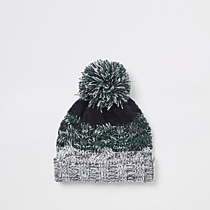 Mini boys green knit stripe beanie hat