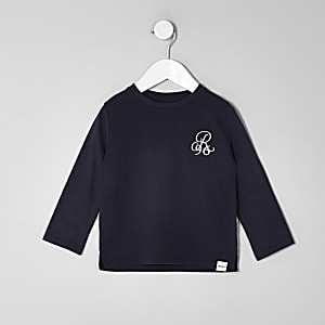 Mini boys navy waffle long sleeve top
