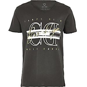 T-shirt imprimé «Carpe Diem» métallisé noir