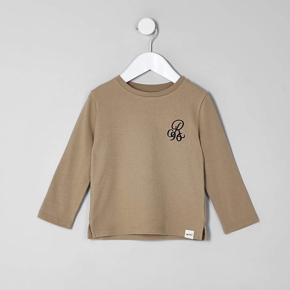 Mini boys beige waffle long sleeve top