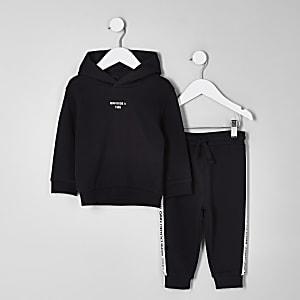 Mini - Outfit met zwarte hoodie en 'Mini dude'-print voor jongens