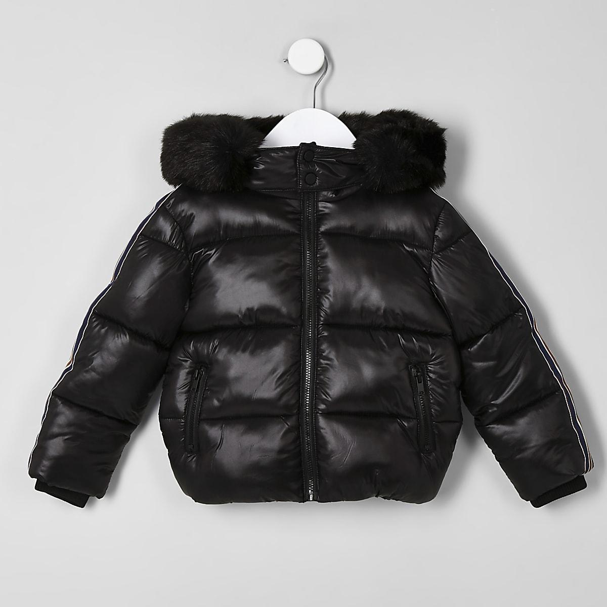 Mini boys black high shine tape puffer jacket