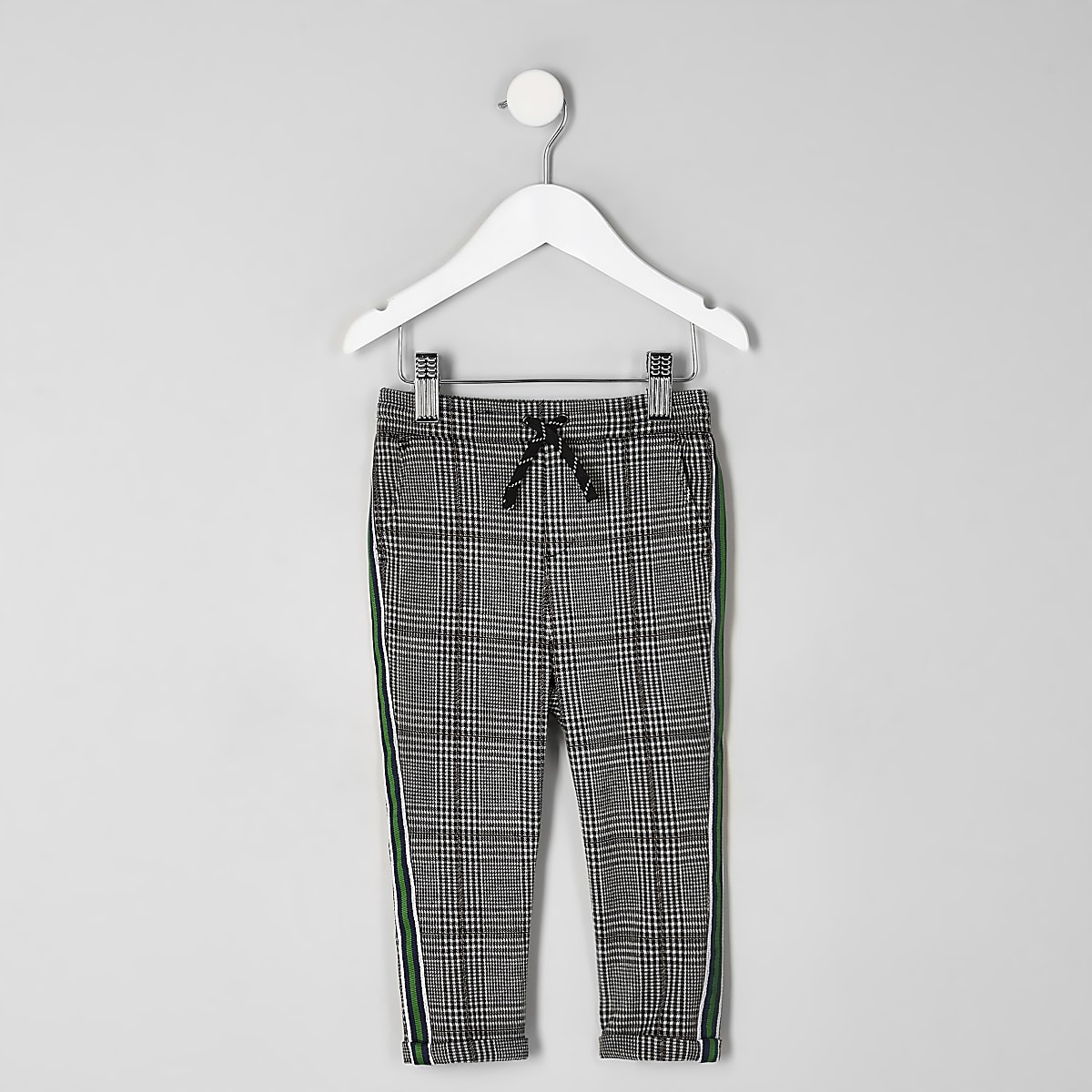 Mini boys grey check tape side pants