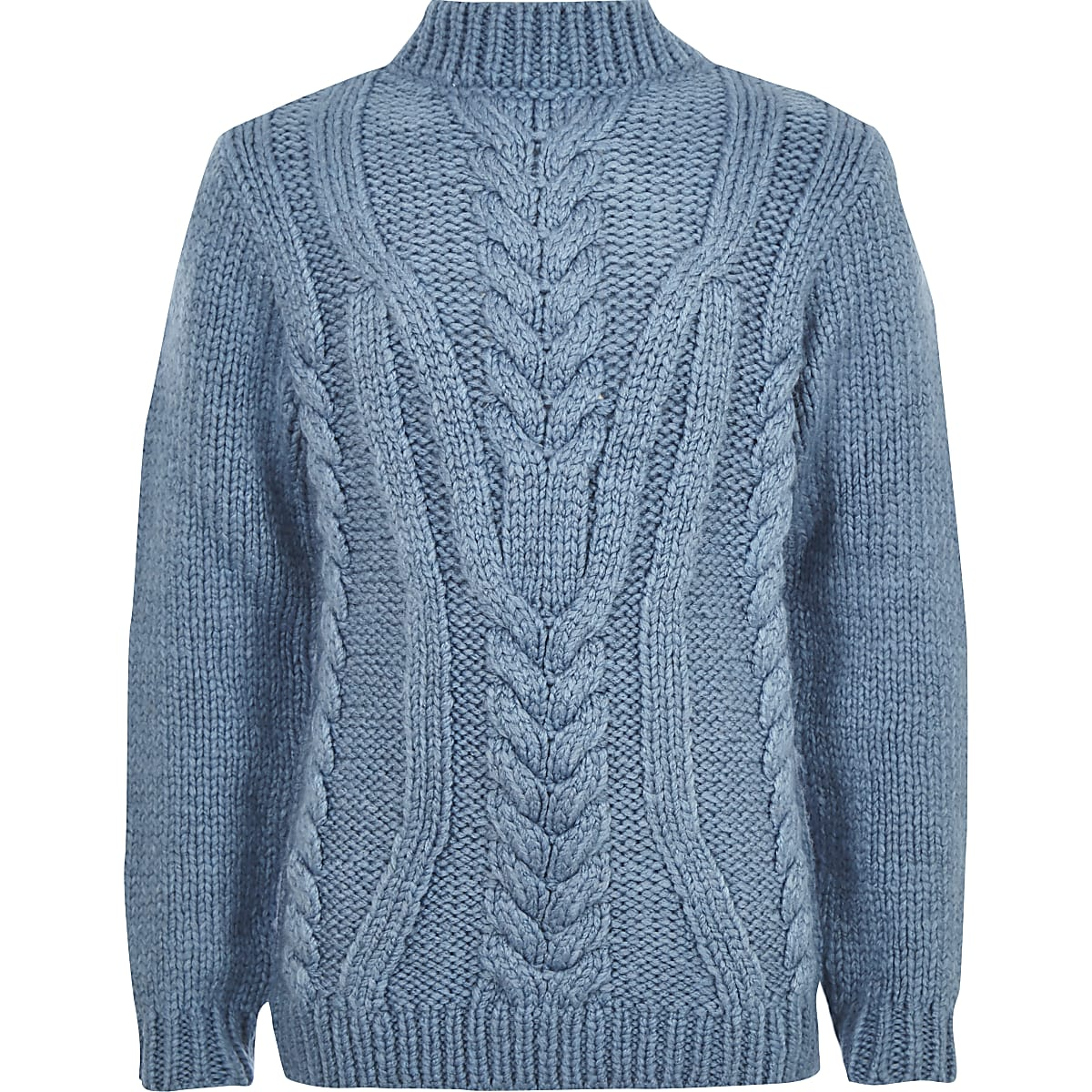 Boys blue turtle neck cable knit sweater