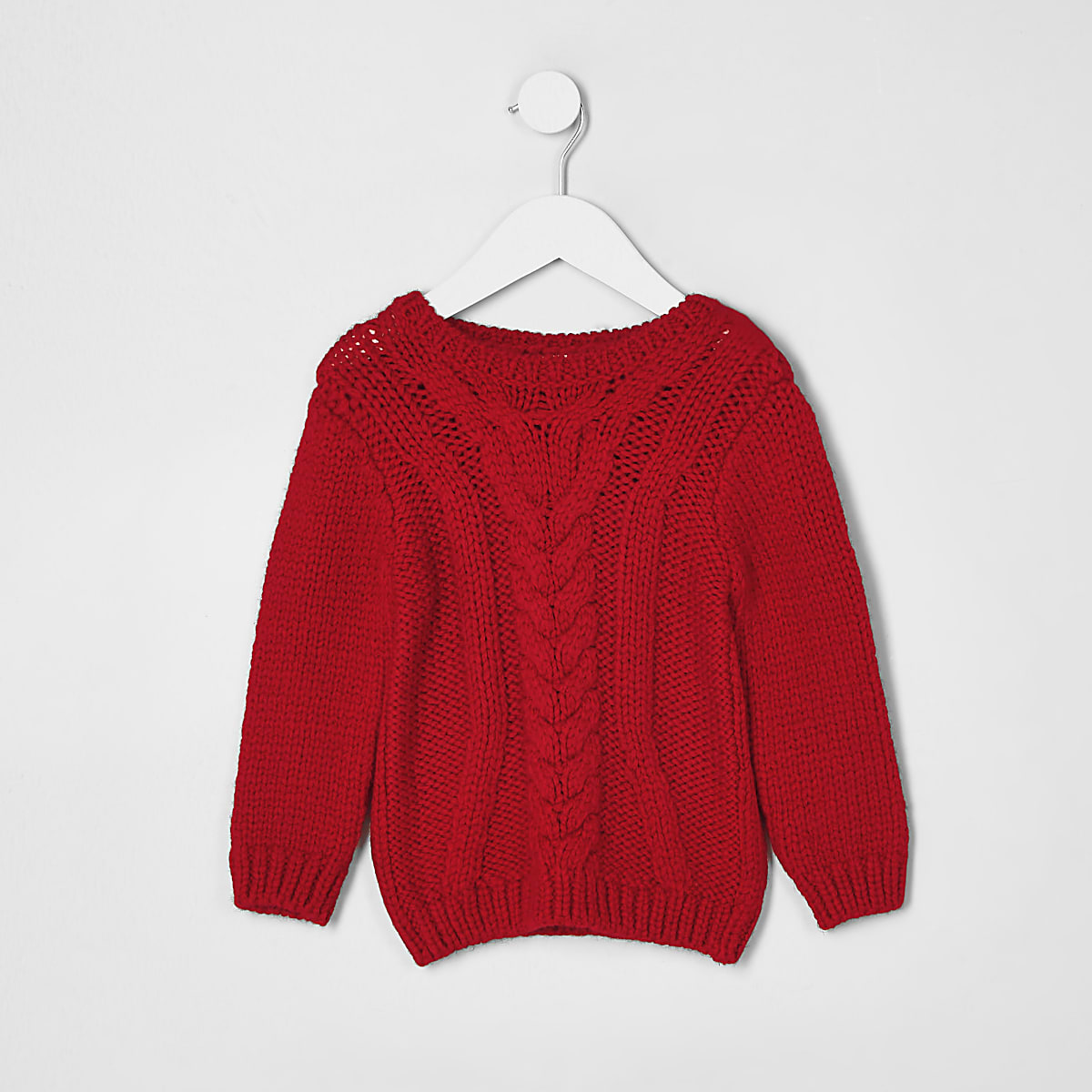1e4c520fc5194d Mini boys red chunky cable knit jumper - Baby Boys Tops - Mini Boys - boys