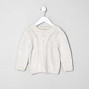 Mini boys ecru chunky cable knit jumper