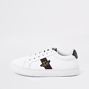 Witte sneakers met bijenprint voor jongens