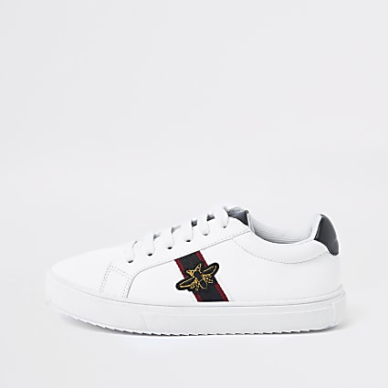 Boy's white  bee plimsolls