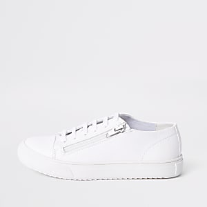 Boys white zip side lace-up sneakers