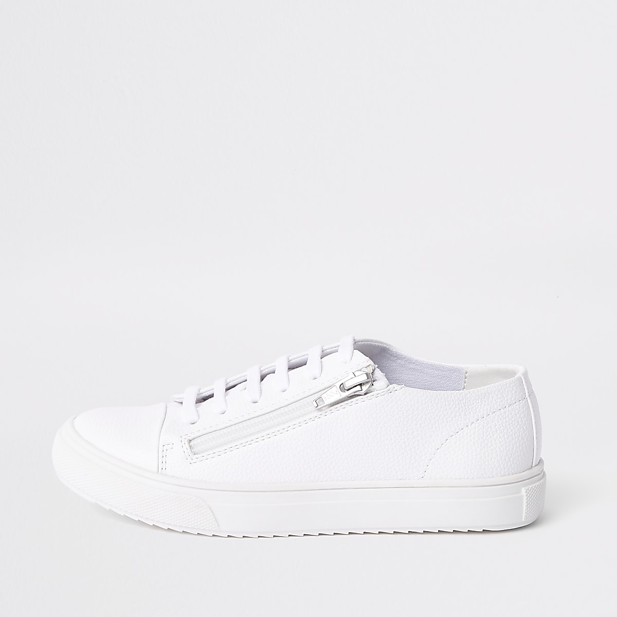 Boys white zip side lace-up trainers