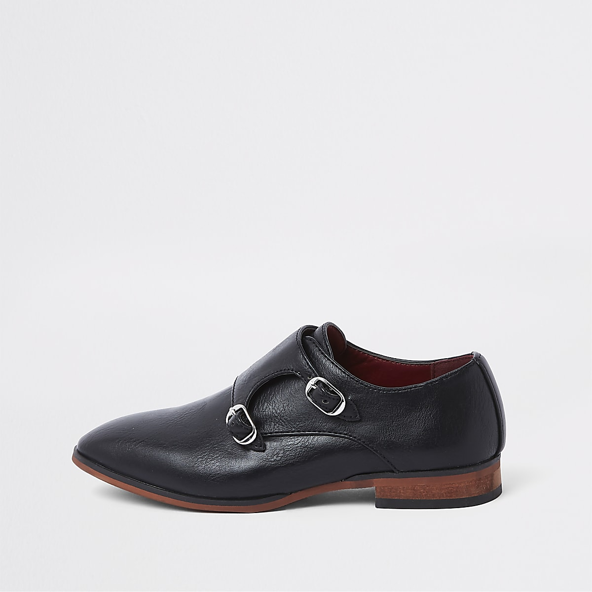 Boys black monk strap pointed shoes
