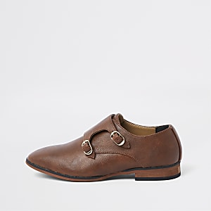 Boys brown monk strap pointed shoes