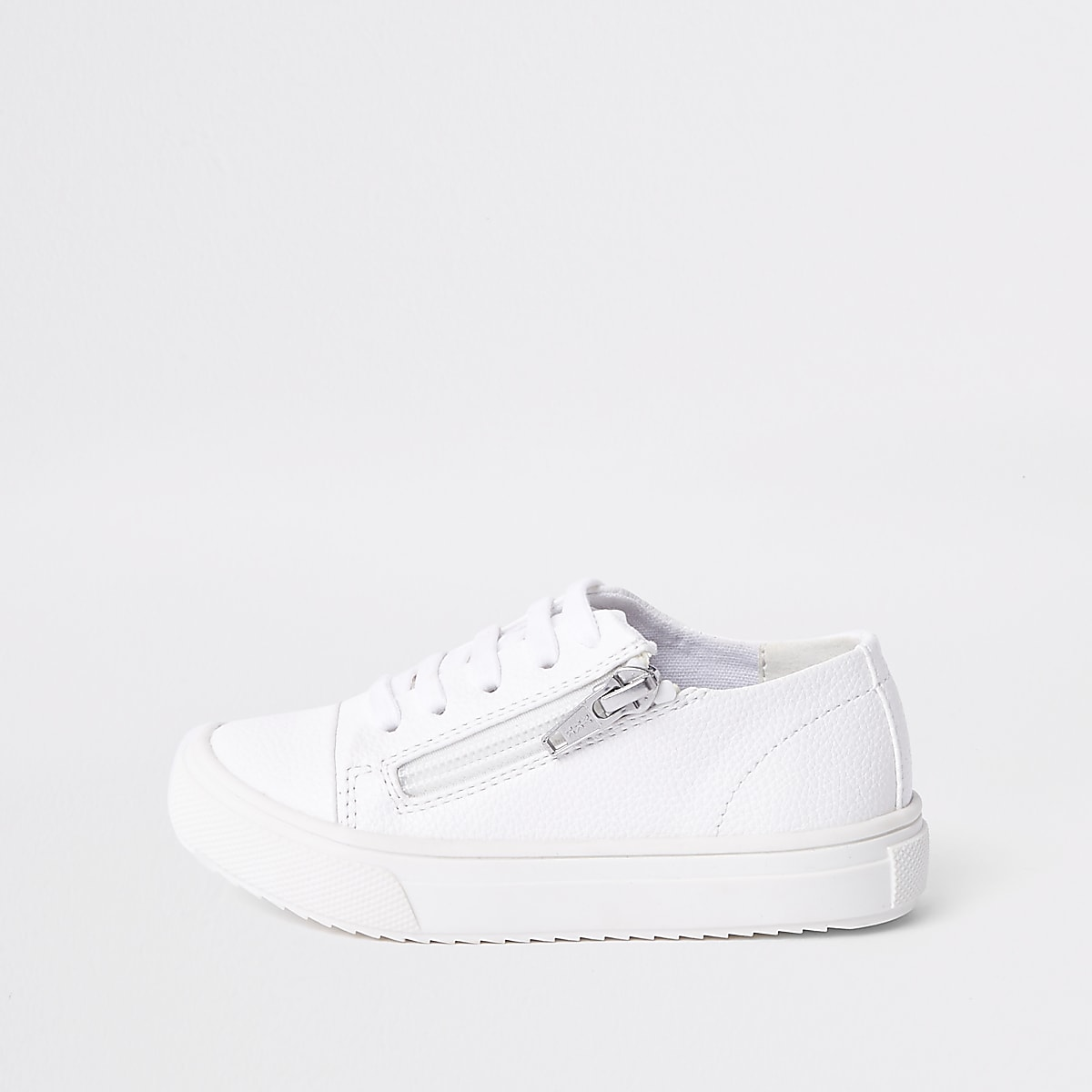 Mini boys white zip side lace-up sneakers
