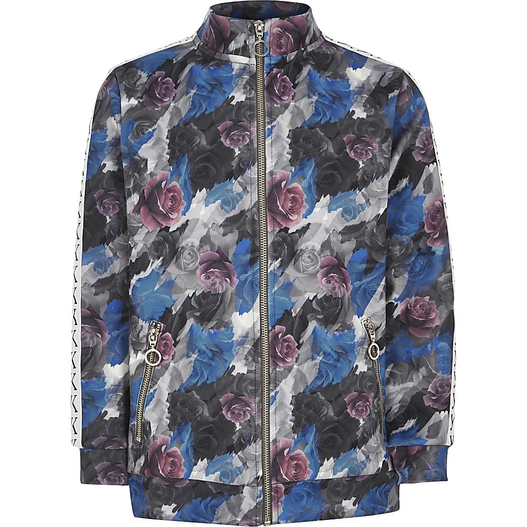 Be Inclusive grey floral windbreaker