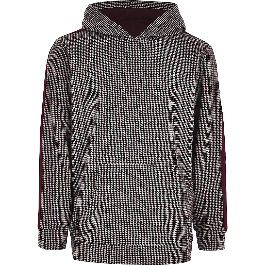 Boys burgundy check tape hoodie