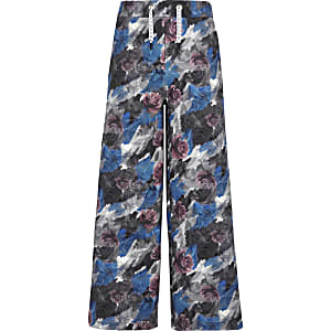 Be Inclusive grey floral popper side joggers