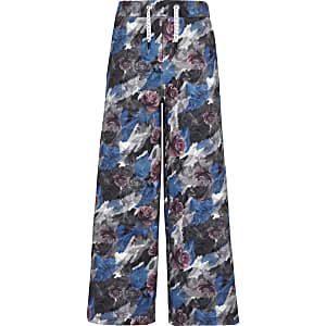 Be Inclusive – Pantalon de jogging gris à fleurs et boutons pression sur les côtés